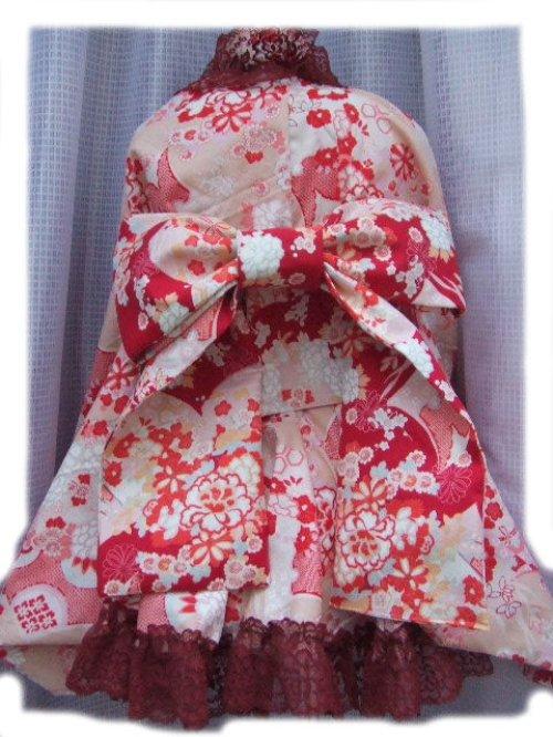 他の写真3: ゴスロリ着物ドレス(浴衣)★ピンクベージュ和風花柄