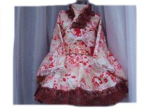 画像1: ゴスロリ着物ドレス(浴衣)★ピンクベージュ和風花柄