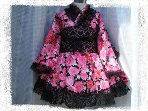 画像1: ゴスロリ着物ドレス(浴衣)
